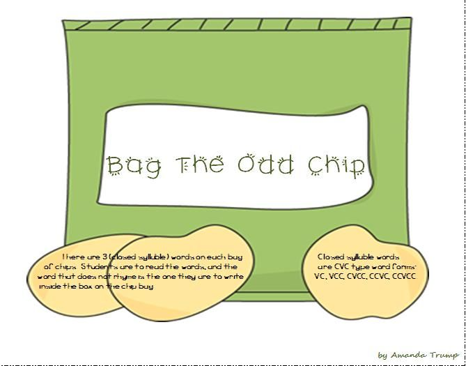 There are 3 (closed syllable) words on each bag of chips. Students are to read the words, and the word that does not rhyme is the one they are to write inside the box on the chip bag. Closed syllable words are CVC type word forms: Closed syllable words VC, VCC, CVCC, CCVC, CCVCC.