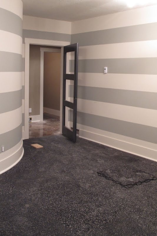grey stripe on walls for current bath would look great