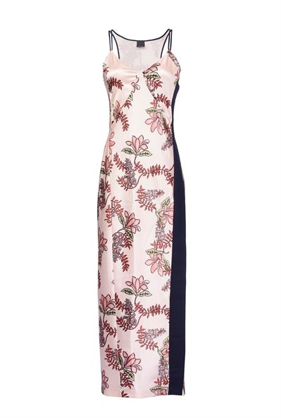 Pinko LONG DRESS IN SATIN WITH FLORAL PRINT