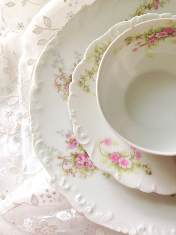 Celebrate a brides approaching nuptials with an ethereally romantic tabletop starting with this Limoges trio. Limoges pieces are very