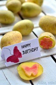 Allez, vite!: Der gute, alte Kartoffeldruck - herbstliche Tischdeko und Geburtstagskarten selber machen