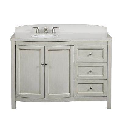 allen + roth Moravia Antique White Undermount Bathroom Vanity with Engineered Stone Top 48-in x 20-in  Antique white finish with engineered stone topPre…