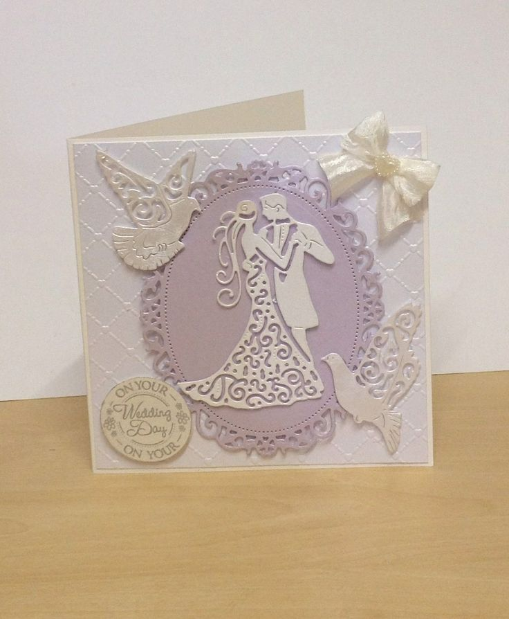 Wedding day card using tattered lace dies ;ovely