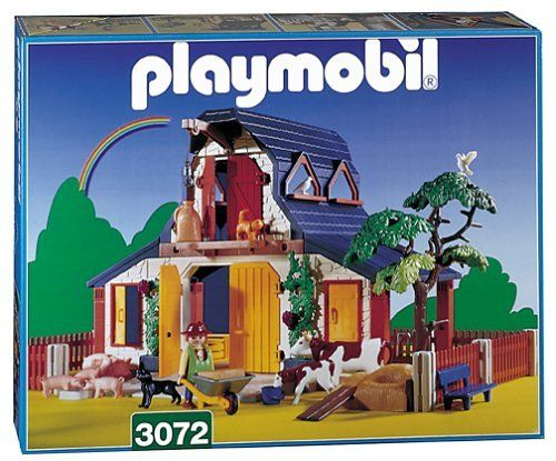 Playmobil Farm by Playmobil. $189.99. Company was released from Jiobura brand stutter (Germany) in 1974,. The sun rises over this Playmobil Farm Set and the heifer and the sow with her 3 piglets are looking expectantly through the fence for their breakfast! All of the animals are waiting to be fed by the toy farmer! This toy farm is a great outdoor playset for any child who loves fun discovery toys!  Ages 4+ Retired 3072 Playmobil