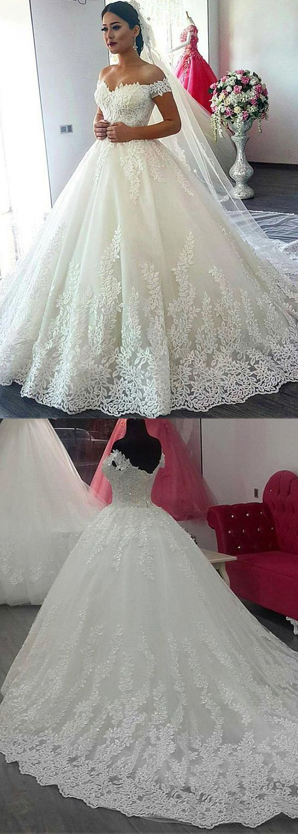 Fascinating Tulle Off-the-shoulder Neckline Ball Gown Wedding Dress With Beaded Lace Appliques #weddingdresses