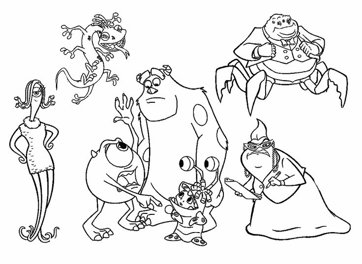 All Characters Monsters Inc Coloring Pages | monster party ...