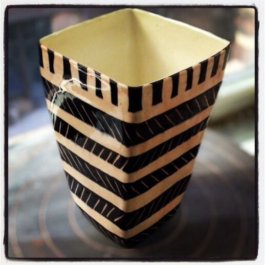 Small Square Vase / graphic pattern / black and white with pink glaze over modern vase for lots of flowers made in NYC. $35.00, via Etsy.