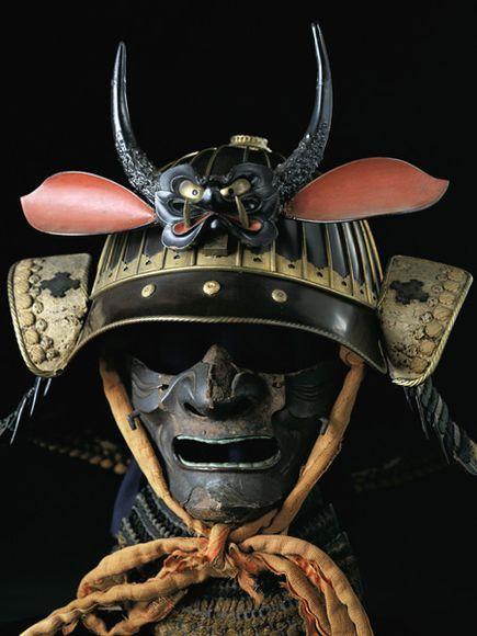 Samurai face mask & pumpkin helmet (kabuto), Osaka Castle ...