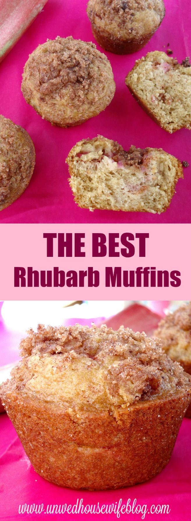 THE BEST Rhubarb Muffins | Unwed Housewife | Dense, moist, bakery style rhubarb muffin recipe. THE BEST rhubarb muffins out there.