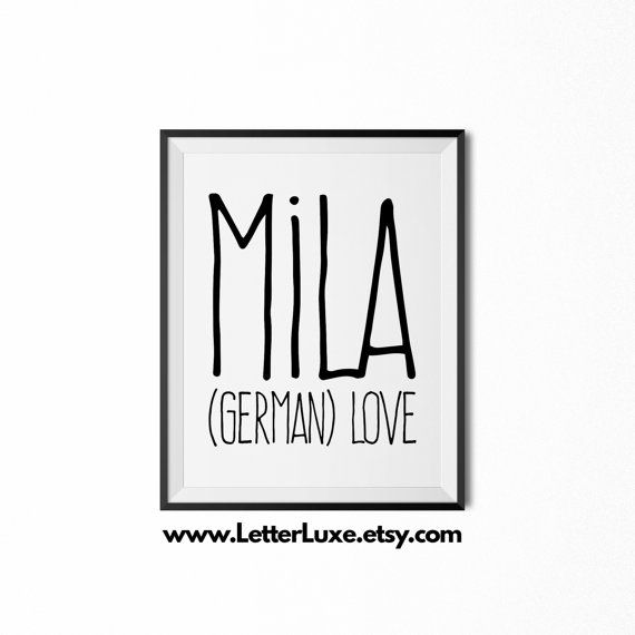 Mila Name Meaning Art  Printable Baby by LetterLuxePrintables