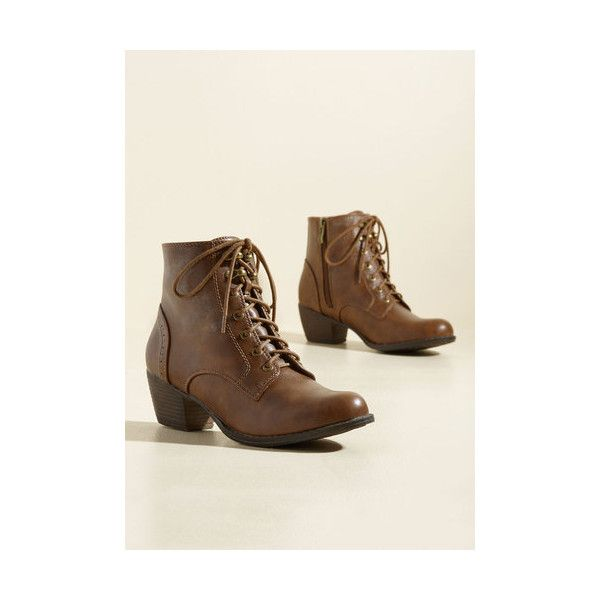 Safari Steampunk Rock Bootie ($70) ❤ liked on Polyvore featuring shoes, boots, ankle booties, boot - bootie, brown, heeled boot, heeled boots, brown lace up boots, lace up boots and brown ankle boots
