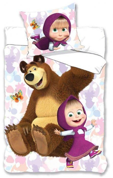 "Masha and the Bear, Παιδική Μονη, Παπλωματοθήκη Σετ 100% ΒΑΜΒΑΚΕΡΟ ""Happy Hugs"" - memoirs.gr"