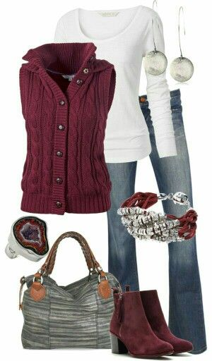 Again, simple pieces put together for a great look.  Love the jewelry and the berry color works great for me.