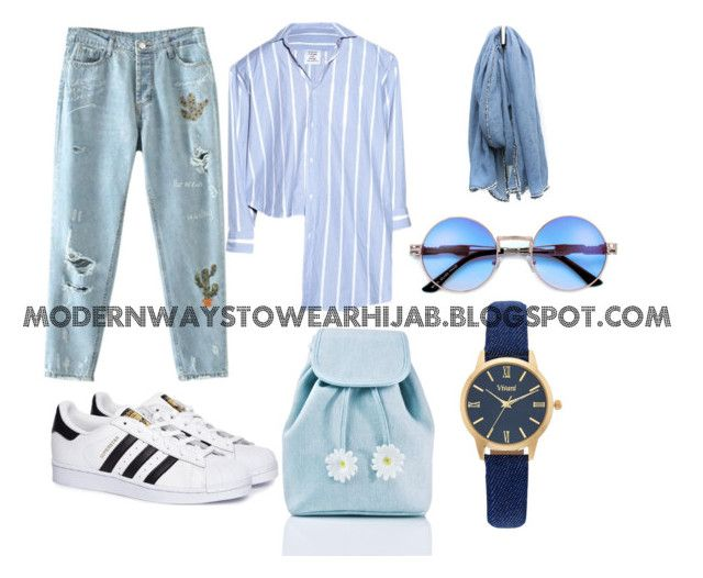 """""""Blue Hijab Outfit"""" by azzahraabelgassab on Polyvore featuring mode, Vetements, Sugarbaby, adidas et Vivani"""