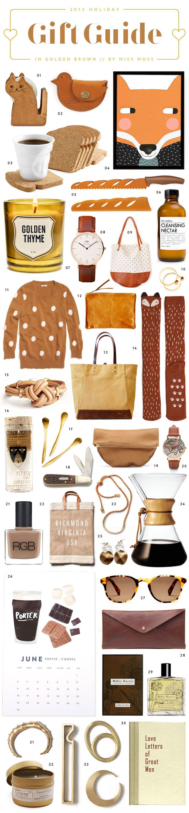 Golden Brown Gift Guide by @Diana Moss including our Catbird Campfire Candle.