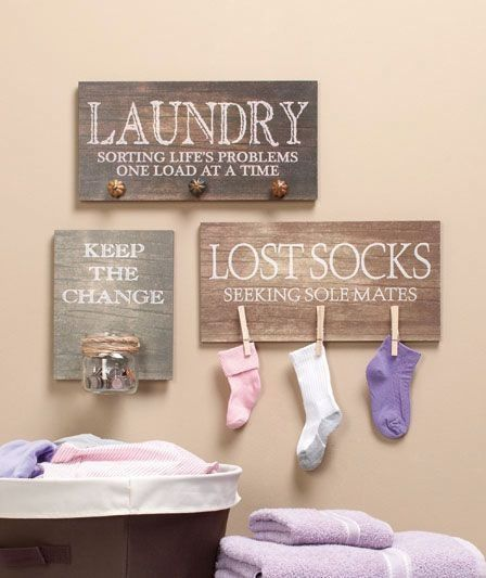 I'll probably have time to do this around the same time I no longer find partner-less socks around...but it's a cute idea for a laundry area.