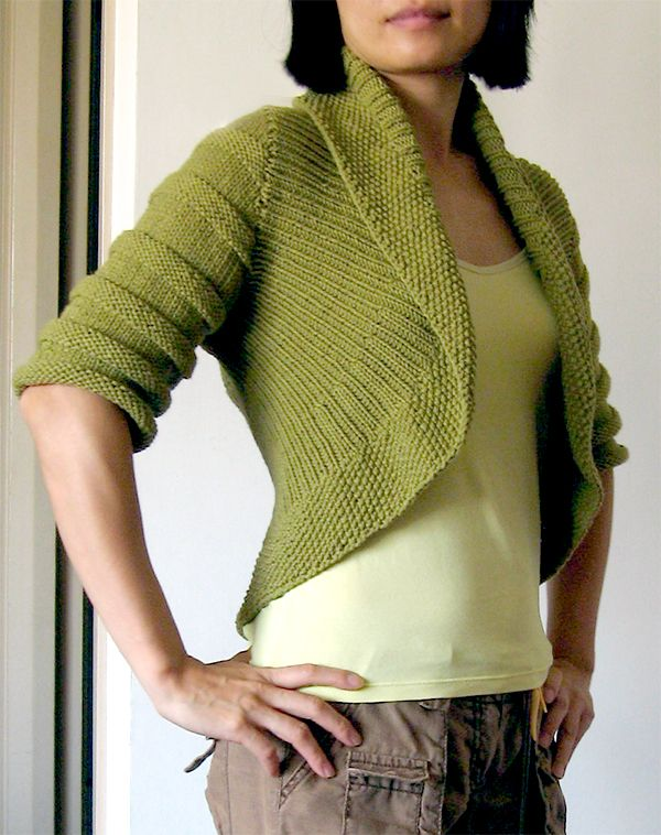 96e19abac Free Knitting Pattern for Textured Circle Shrug - This cardigan is knit  with a ribbed front with seed stitch edge