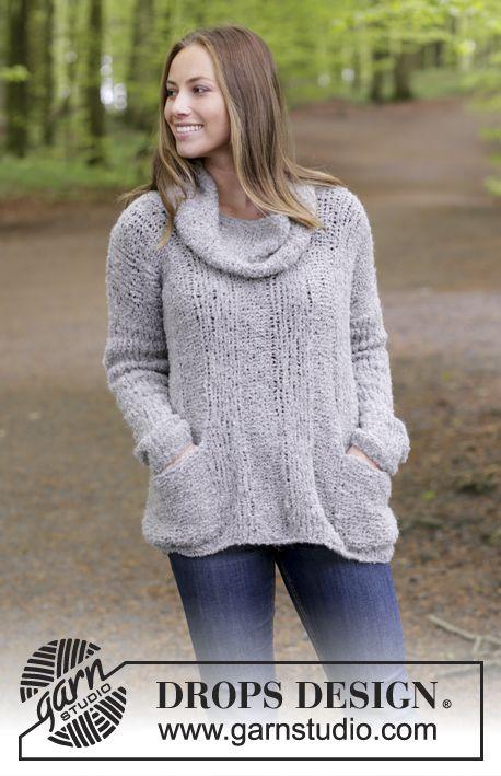 Pull tricoté en DROPS Alpaca Bouclé, avec côtes, poches et col amovible. Du S au XXXL