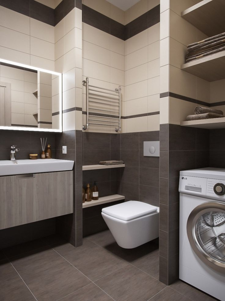 Home & Apartment:Small Bathroom With Modern Laundry Design Ideas And Shelf Storage Also Beautiful Bathroom Wall Mirror On Small Studio Apartment Ideas Small Studio Apartment Ideas with Slick and Simple Designs
