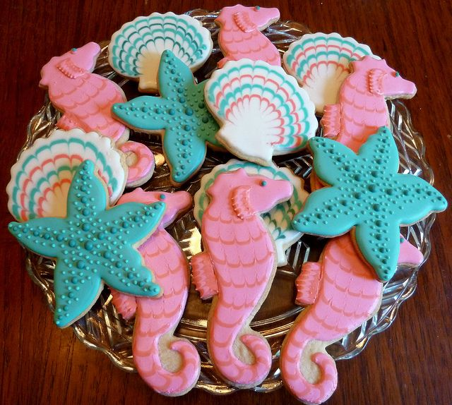 Pretty seahorses for a pretty girl! by Kelley Hart Custom Cookies