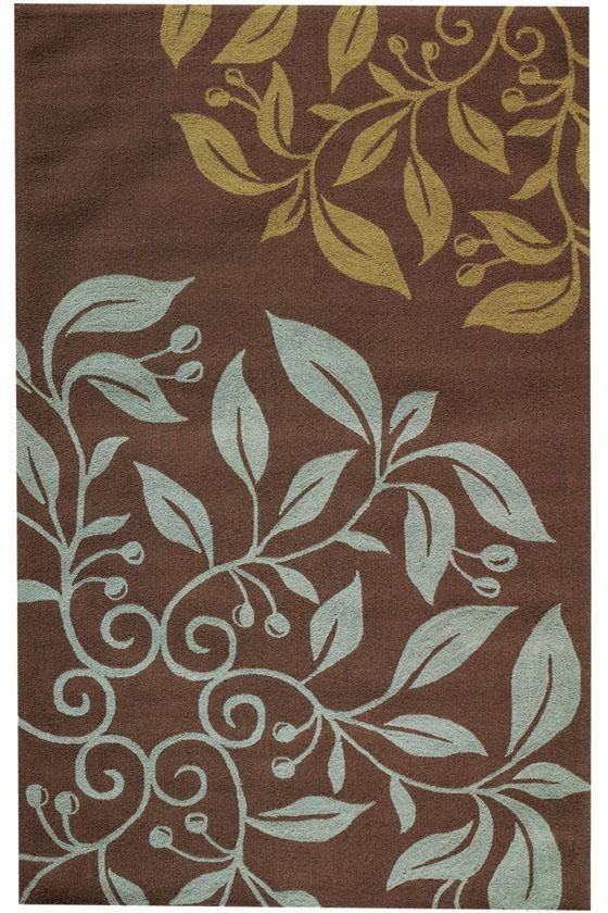 Brown And Blue Patterned Bathroom Rugs: Floral Rug - Blue And Brown