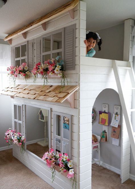 Layla's Dollhouse Loft Bed, Play Area Underneath. Options Include Bunk Bed Version, Storage Trundle, Slide & Stairs w/ Built-in Storage