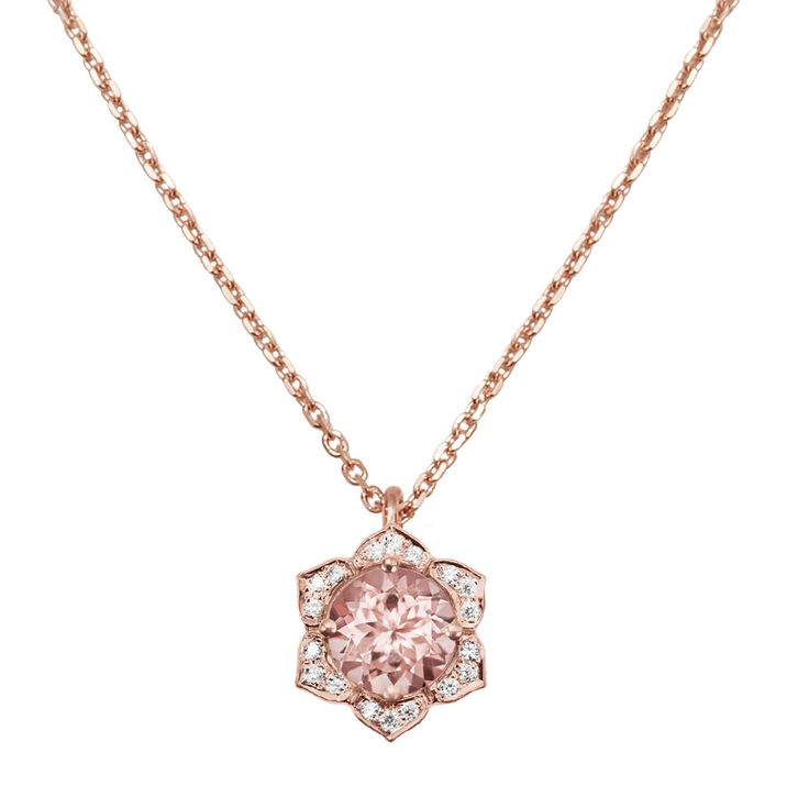 Lily Rose Diamond Pendant Necklace! gorgeous rose gold, diamonds and gemstone center Morganite ! Amazing :)