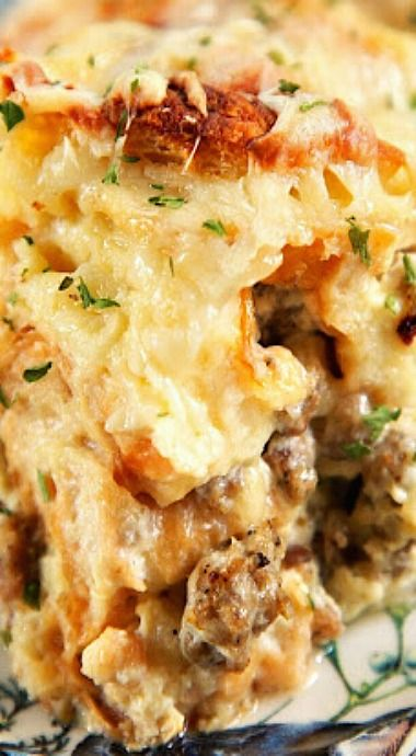 Cheesy Sausage and Croissant Casserole This was so good! I did change a couple of things, I added a little Cheddar Cheese to the meat/bread mixture along with some cooked chopped bacon (about 6 slices) I brought this into work and everyone loved it. I served it with some Raspberry Chipotle Salsa on the side. I will definitely be making this recipe again.
