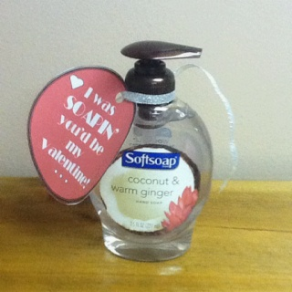 "My Valentine's day gift to my secret valentine at work! ""I was soapin' you would be my valentine"""