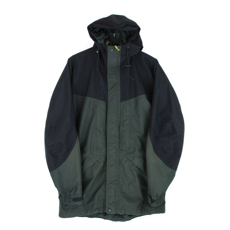 Cabelas Gore Tex Jacket Medium Mens Size M Hooded Rain Coat Parka Black Green #Cabelas #BasicJacket