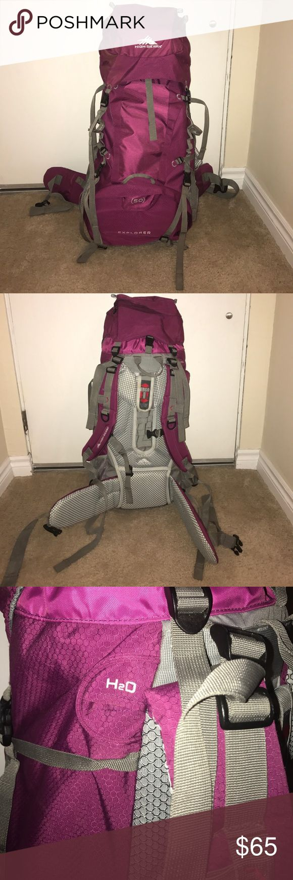 """High Sierra Women's 50L Explorer Hiking Backpack High Sierra Women's 50L Explorer Internal Frame. Bag weighs 4.5lbs. Dimensions 29"""" x 14"""" x 8"""". Holds 50L. Great for a first hiking backpack or using to backpack through Europe! This bag has been used once hiking through The Grand Canyon. Lid has a patch due to animal damage. Love this bag, but received a new one for my Birthday! High Sierra Bags Backpacks"""
