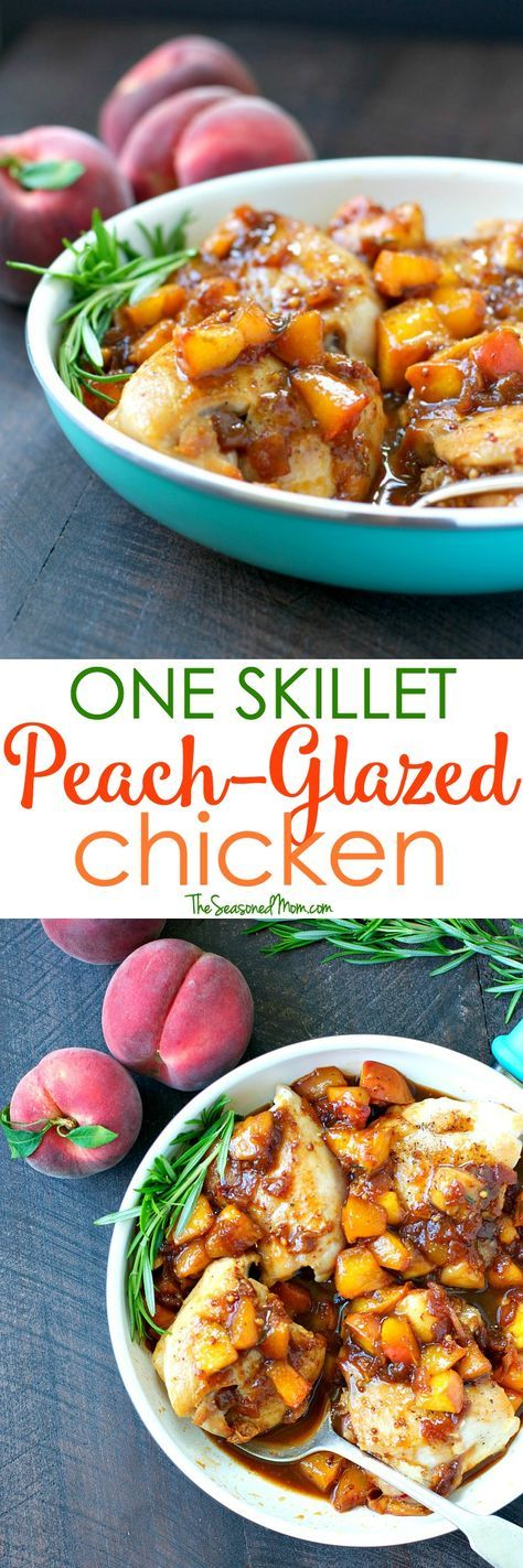 A healthy dinner is ready with only 5 minutes of preparation! This One Skillet Peach Glazed Chicken is a fast, fresh, and family-friendly meal to take advantage of summer's produce.