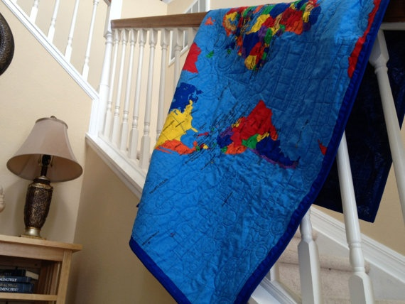 14 best images about quilt on pinterest kid quilts children and world map quilt for kids teens or adults wall by great quiltations the perfect gift gumiabroncs Image collections
