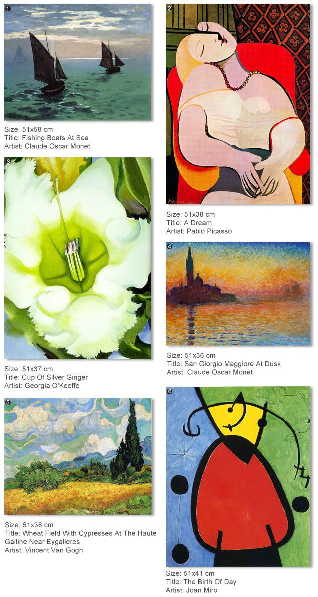 GIVEAWAY! Choose among Picasso, Van Gogh, Monet or Miro & Win a hand painted with oil, famous artist copy.  Last few hours to enter.