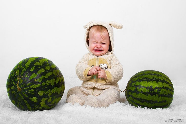 baby, watermelon, photosession