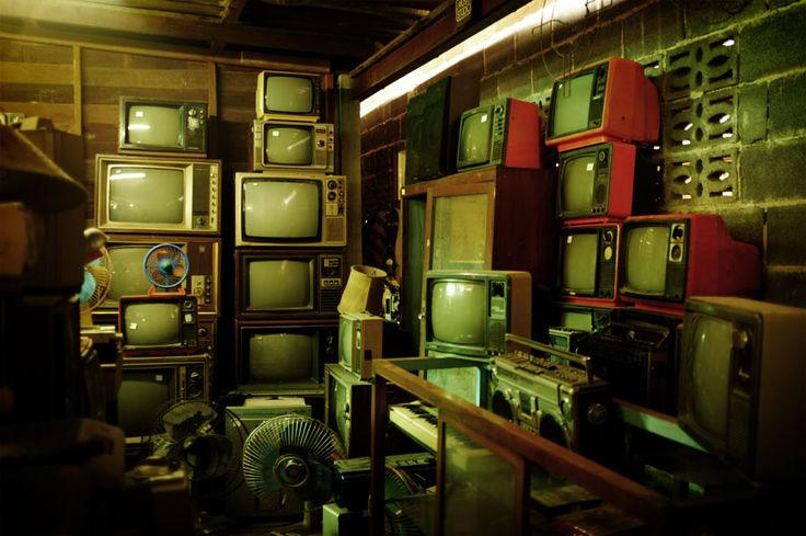 Stacked Tvs in Old Shop, USA -almost like Paulina and H. have been…