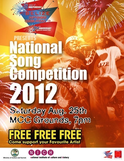 Belize National Song Competition is this Saturday and entrance is FREE