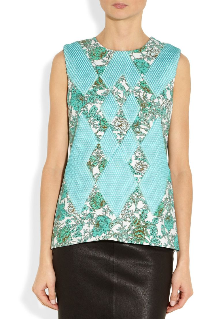 ThakoonPrinted scuba-jersey and mesh topfront