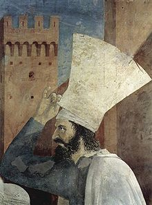 Piero della Francesca - Storie della Vera Croce: Esaltazione della Croce, dettaglio Eraclio - affresco - 1452-1466 - Arezzo, Basilica di San Francesco, Cappella Maggiore