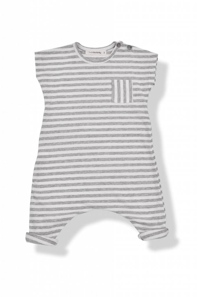 Zomerse jumpsuit met korte mouwen, brede strepen in wit grijs, maten 1m tm 12m