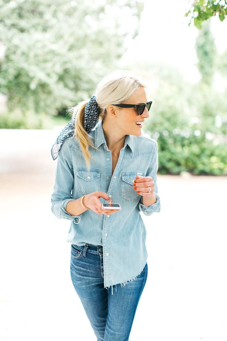 """The new way to wear your button downs - the halftuck (Denim on Denim -MADEWELL Bandana // Chambray Shirt // L'AGENCE Jeans//CHANEL Nail Polish in """"Espadrilles"""" )"""