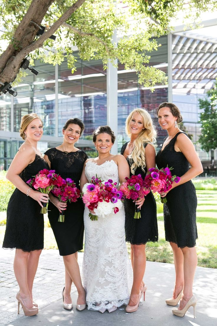 421 best bridesmaids in black images on pinterest bridesmaids bridesmaids in short black dresses with bright pink bouquets photography carter rose for ombrellifo Gallery