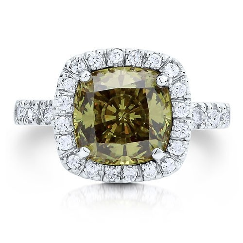 """Коктейльное кольцо на правую руку """"Перидот"""" из стерлингового серебра с цирконом CZ огранки """"подушка"""" UAH 680.40"""