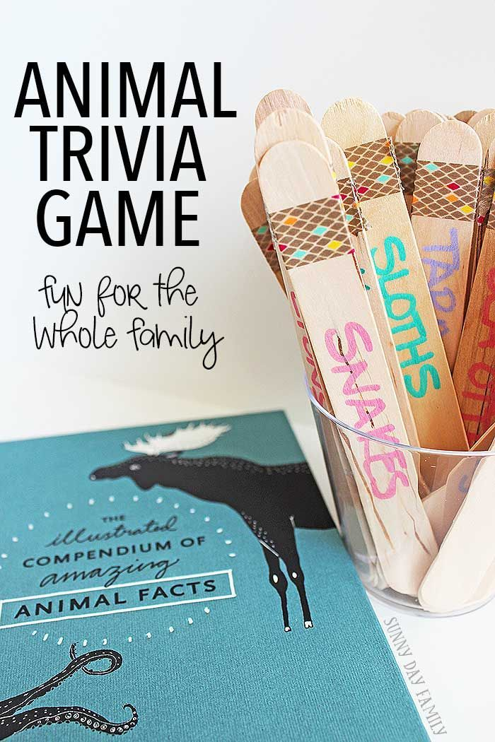 Make your own animal trivia game for family game night! This super fun DIY game is great for the whole family - with variations for kids of all ages. Animal lovers will have so much fun with this game - it's great for learning animal facts too!