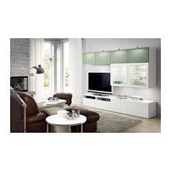 IKEA - BESTÅ, TV-Komb. mit Vitrinentüren, Lappviken grün/Sindvik Klarglas weiß, Schubladenschiene, sanft schließend, , Wandschränke mit geringer Tiefe benötigen wenig Platz und nutzen Wandfläche optimal - z.B. über dem Fernsehgerät.Dank mehrerer Öffnungen auf der Rückseite der TV-Bank lassen sich Kabel von Fernseh- und anderen Geräten verdeckt, aber griffbereit ordnen.Dank der Kabelöffnung auf der Oberseite der TV-Bank lassen sich Anschlüsse in den Bankkorpus leiten.