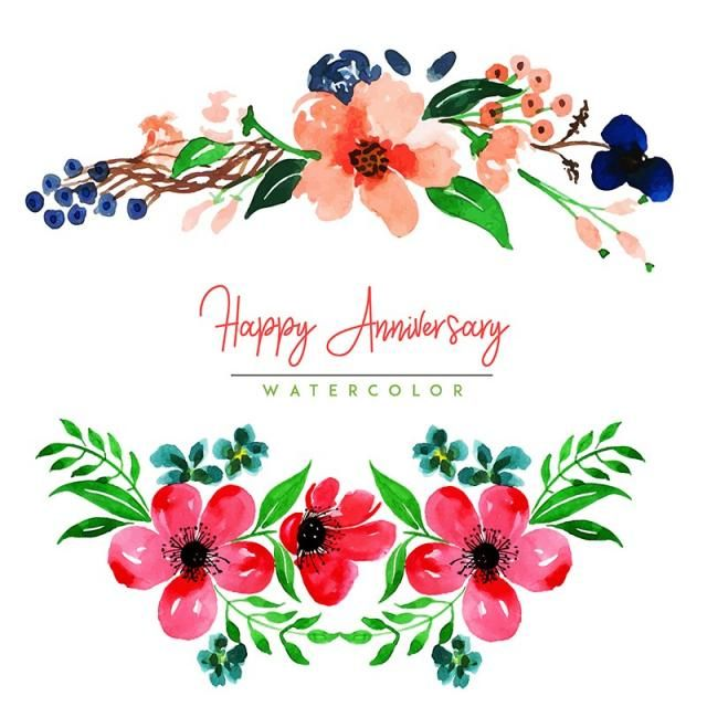 Watercolor Floral Happy Anniversary Background Watercolor Color