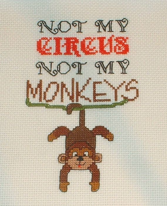 Not My Circus Not My Monkeys cross stitch pattern by wiats on Etsy