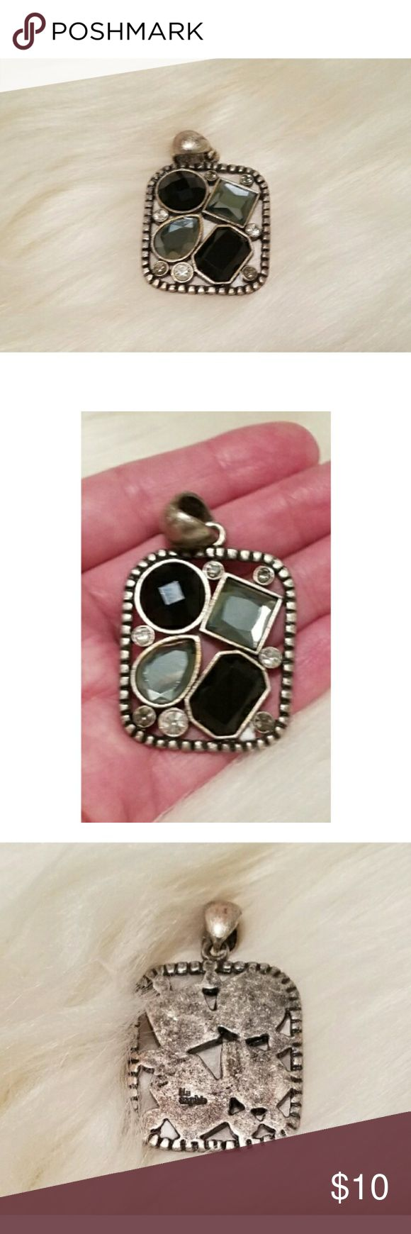 EUC Lia Sophia pendant black gray and cz This is a very pretty black gray and cz pendant by Lia Sophia. The silver tone has a weathered look to it. 2 in. long. Lia Sophia Jewelry
