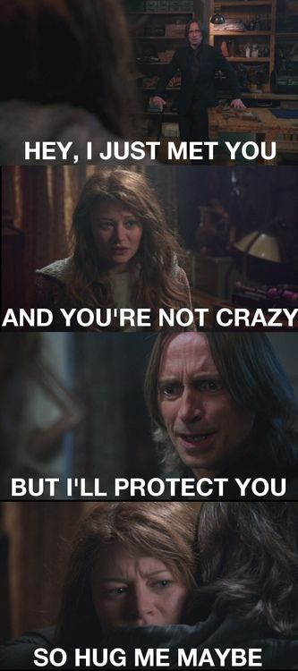 Once Upon a Time: Rumple and Belle. I laughed so hard at this. But for real it was a beautiful moment.