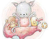 Cute Illustrations - Illustrazione carino - Nursery - felice coperta amici, gattino, pulcino, orsacchiotto